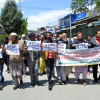 The members of all traders and manufacturers association Tuesday held a protest demonstrations in Anantnag against civilian killings. PHOTO/Muneeb Ul Islam