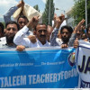 Dummy coffin on shoulders, SSA teachers stage unique protest in Baramulla