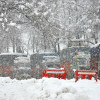 Trucks stranded on Jammu-Srinagar highway during the day as the fresh snow lashes the areas…
