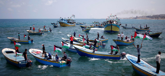 Palestinians launch boats from Gaza to protest Israeli blockade
