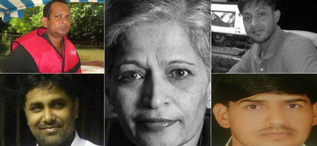 Ceremony honours Lankesh, Bhaumik among 18 journalists killed in 2017 in the line of duty