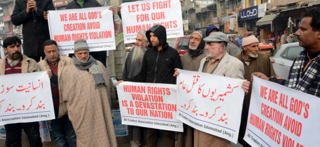 Traders Association Anantnag holds a peaceful protest against alleged human rights abuses in Kashmir...