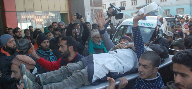 An injured civilian being rushed to SMHS Hospital