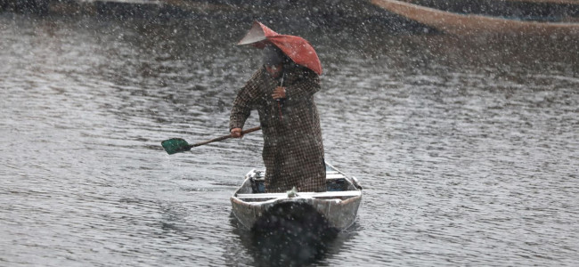 Holding his 'nearly breaking down umbrella', a boatman pulls his Shikara on Dal...