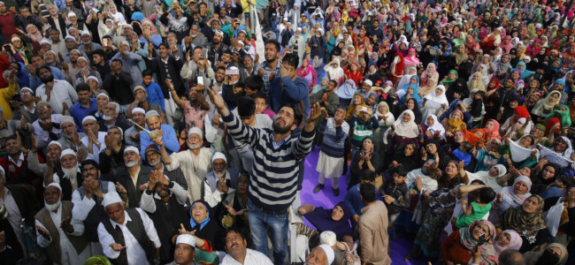 Thousands thronged and prayed at Dargah Hazratbal on Thursday following the Shab ...
