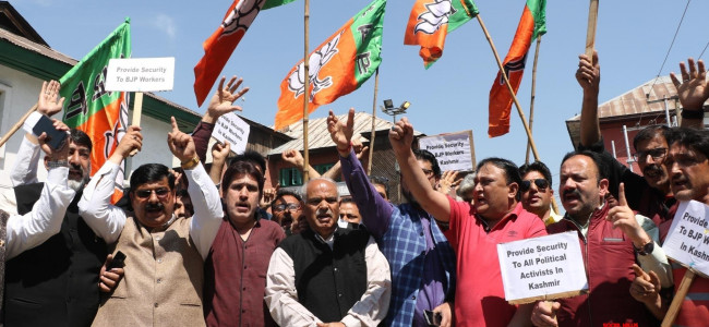 BJP protests in Srinagar against security withdrawal of political workers