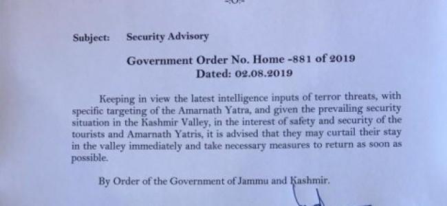 Kashmir panics as govt asks Amarnath pilgrims, tourists to leave Valley