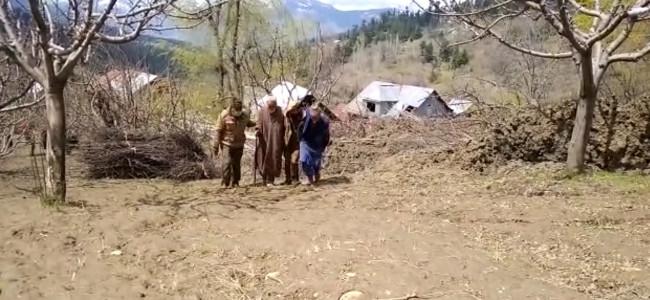 Landslide damage 4 houses, apple orchard at Latiefabad